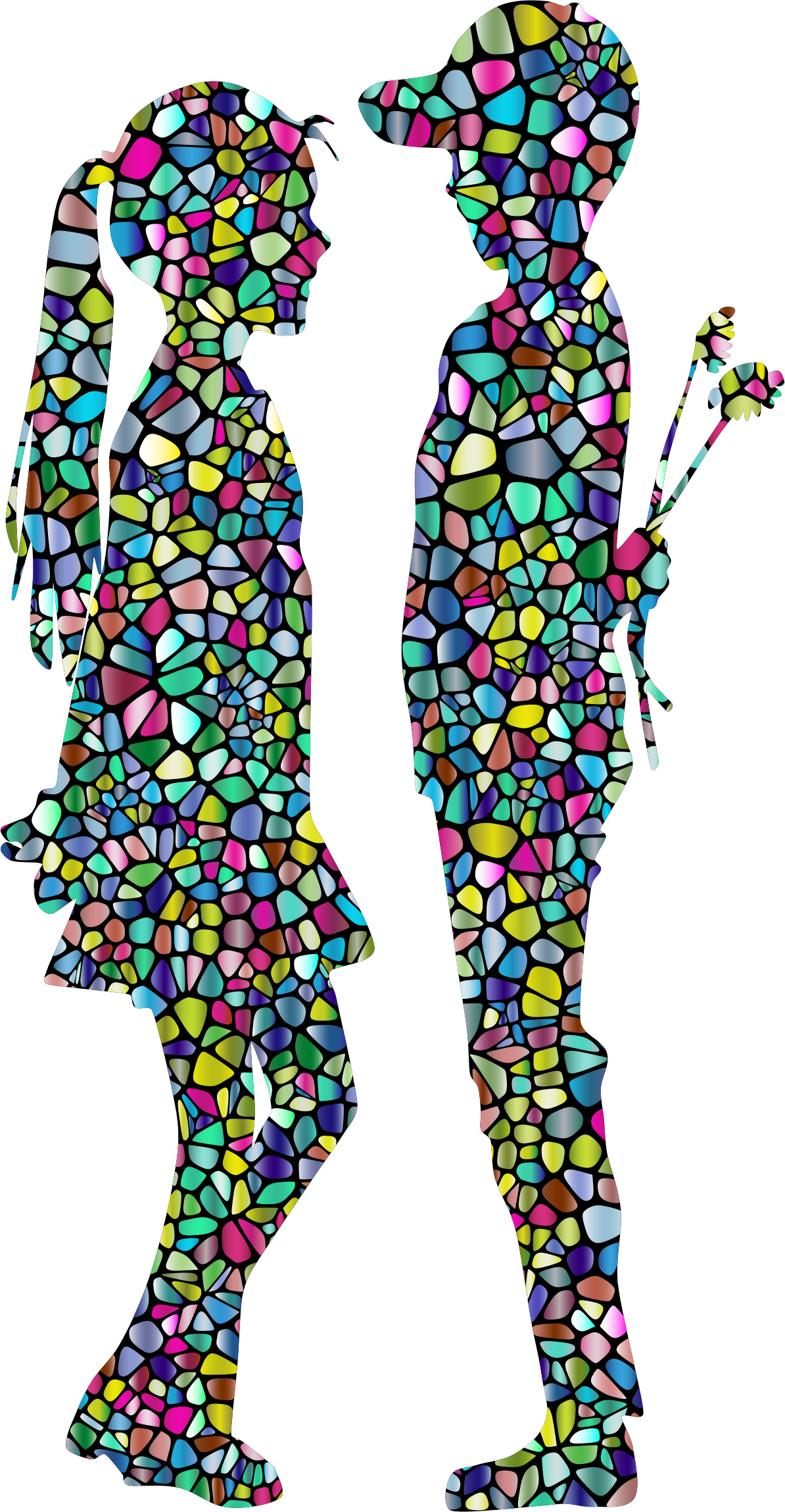 Boy and girl silhouette. Young clipart female child
