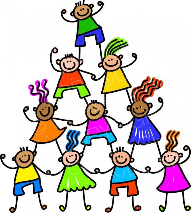 Happy cartoon kids toddler. Clipart child teamwork