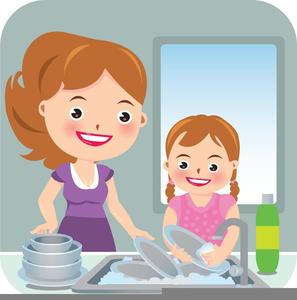 Dishwasher clipart kid. Kids washing dishes free