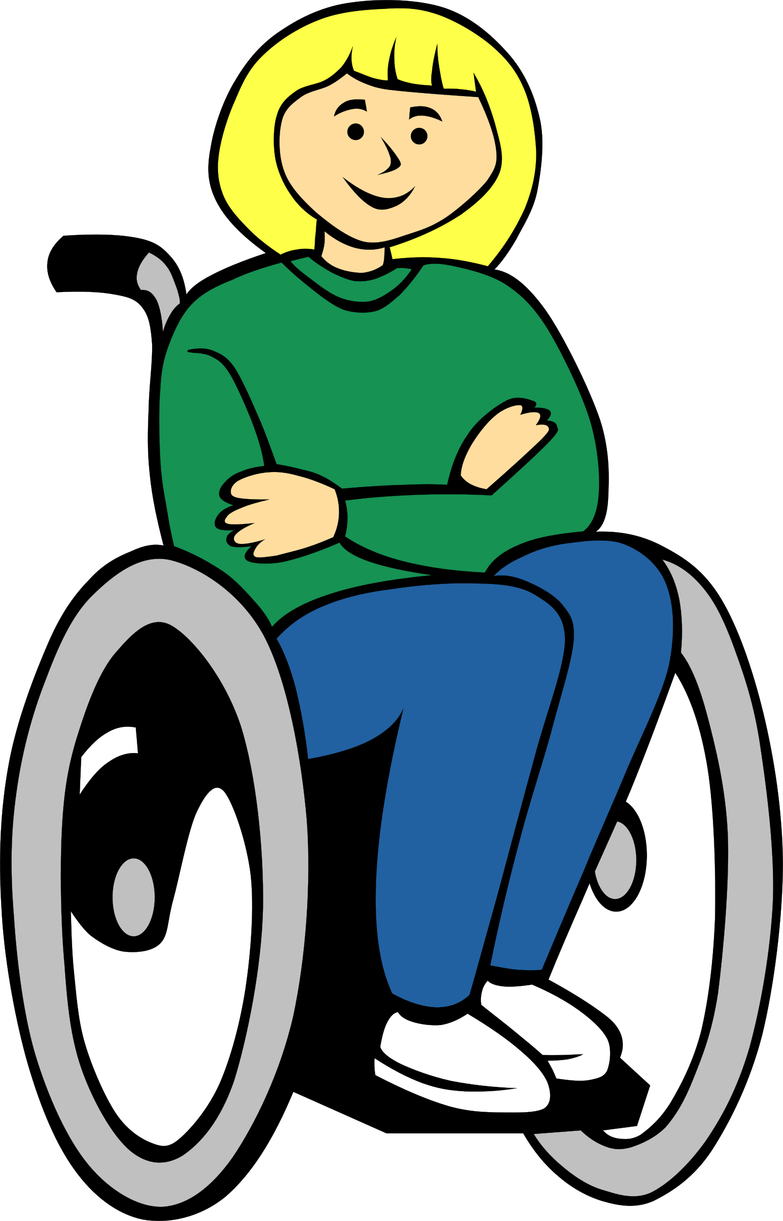 Wheel clipart wheelchair. Girl in big image