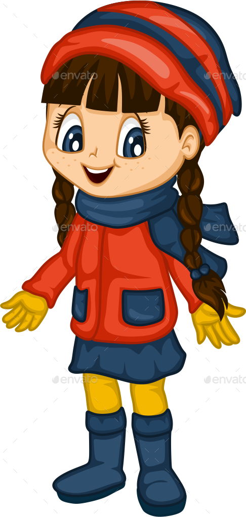 Cute little girl for. Winter clipart person
