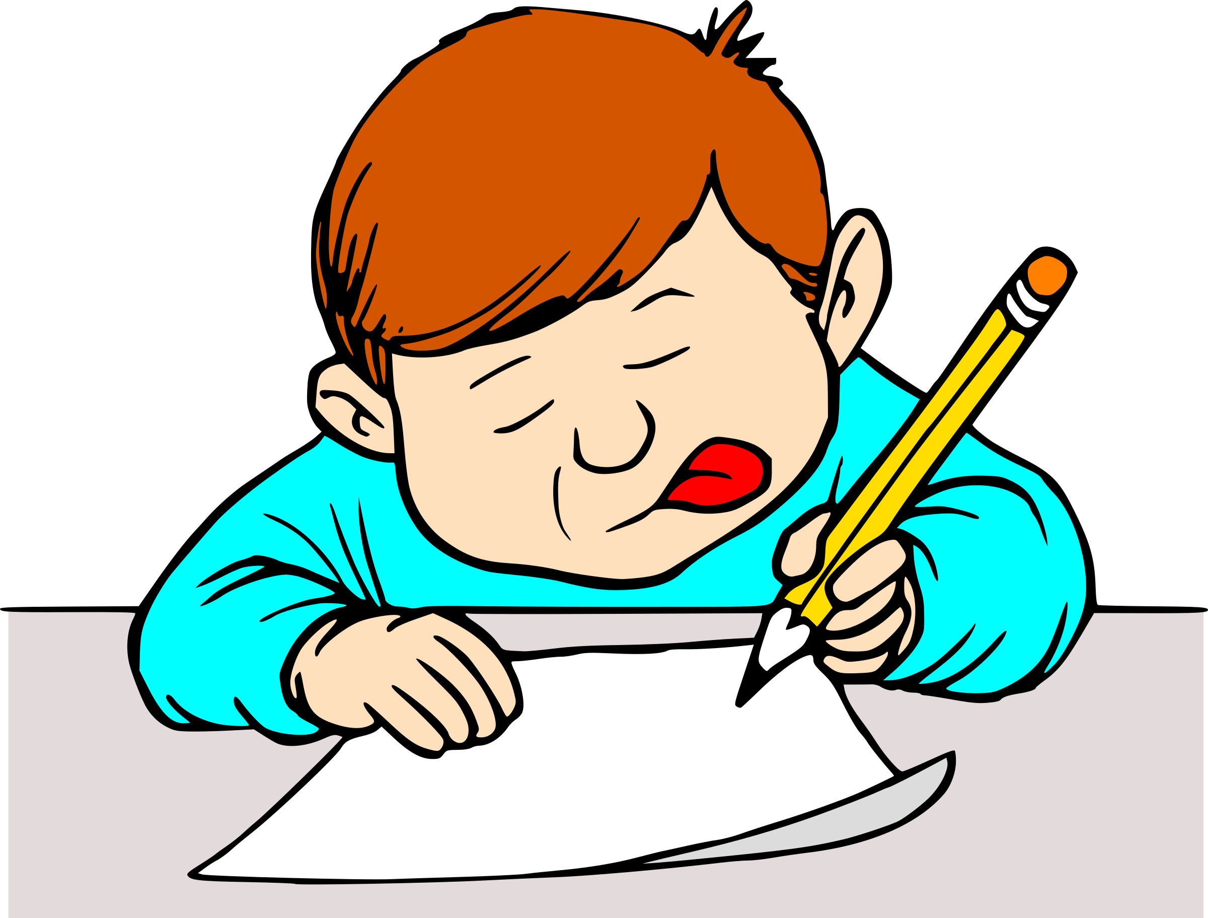 Student writing big image. Young clipart self