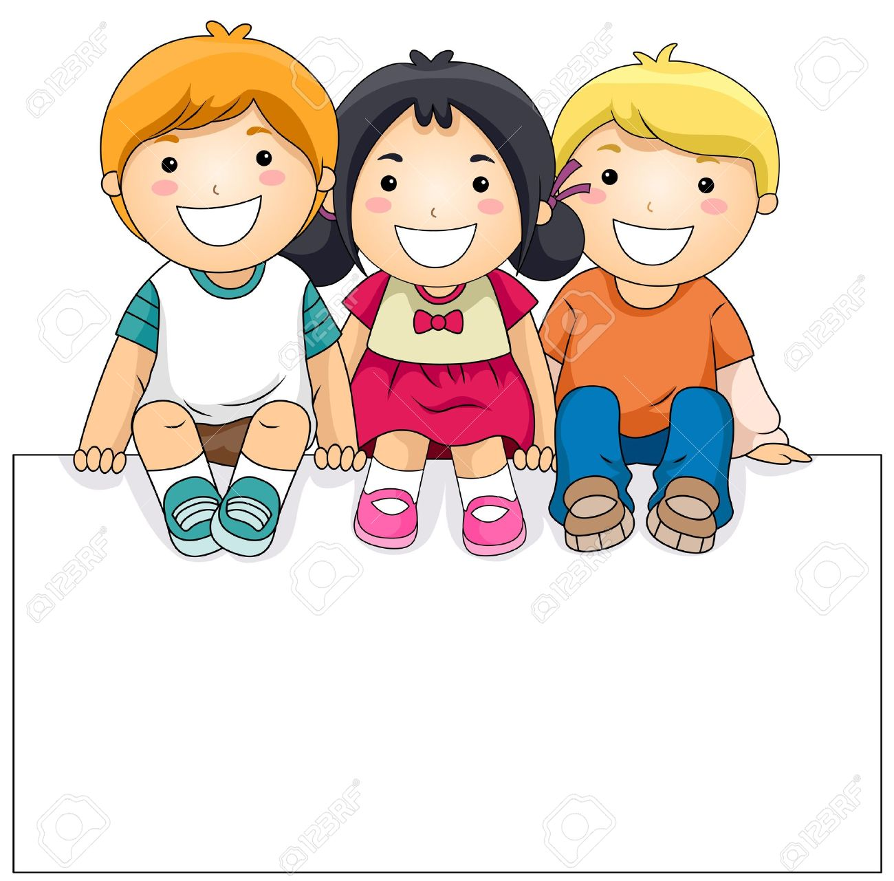 Children with a panda. Kids clipart