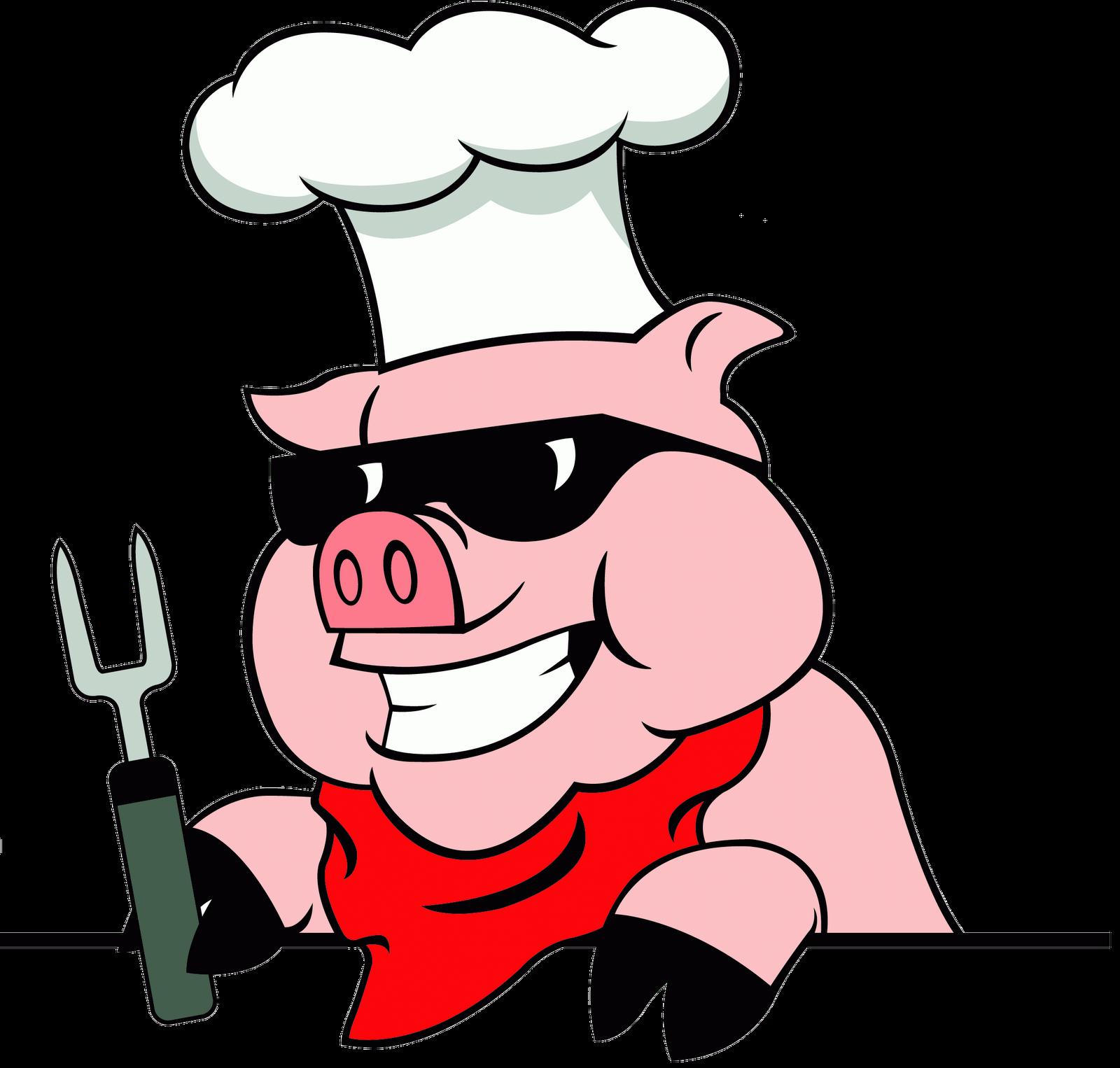 Pig bbq cartoon logo. Clipart children computer