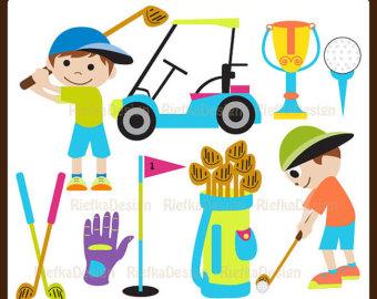 Kids golf clip art. Golfer clipart baby