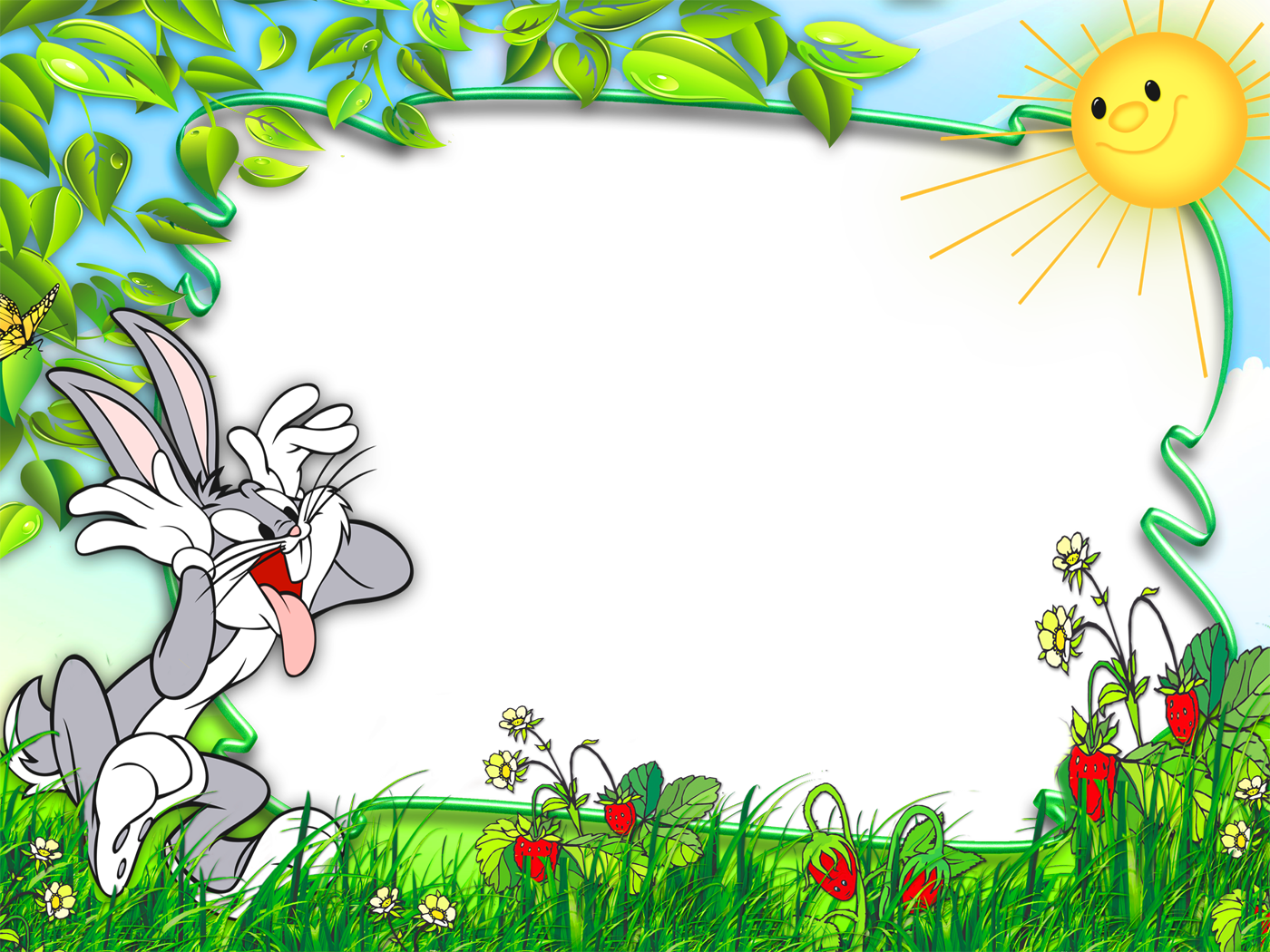 Jungle clipart nature frame. Funny bunny cute kids