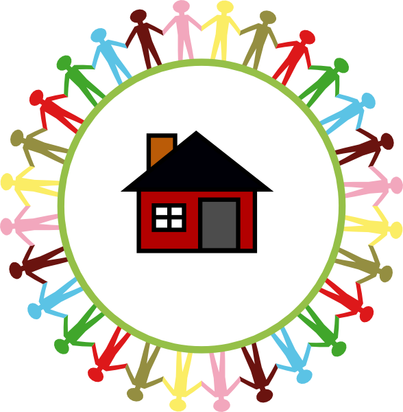 Children of the world. Hands clipart house