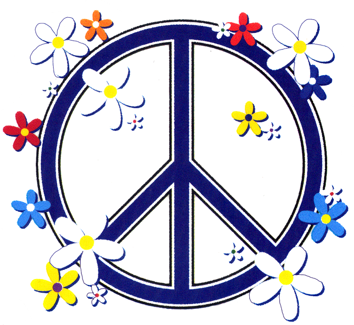 Peace sign window stickers. Hippie clipart heart