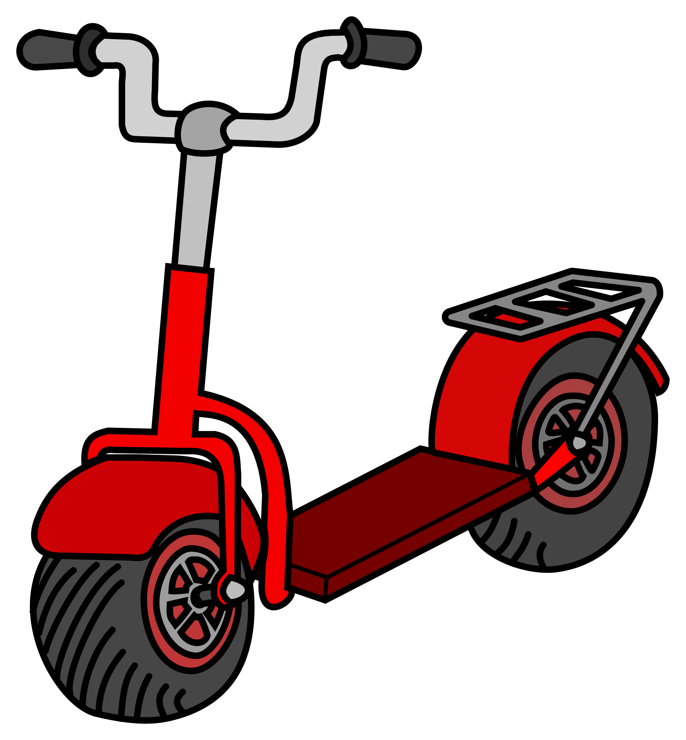 Scooter clipart roller. Kick coloured big image