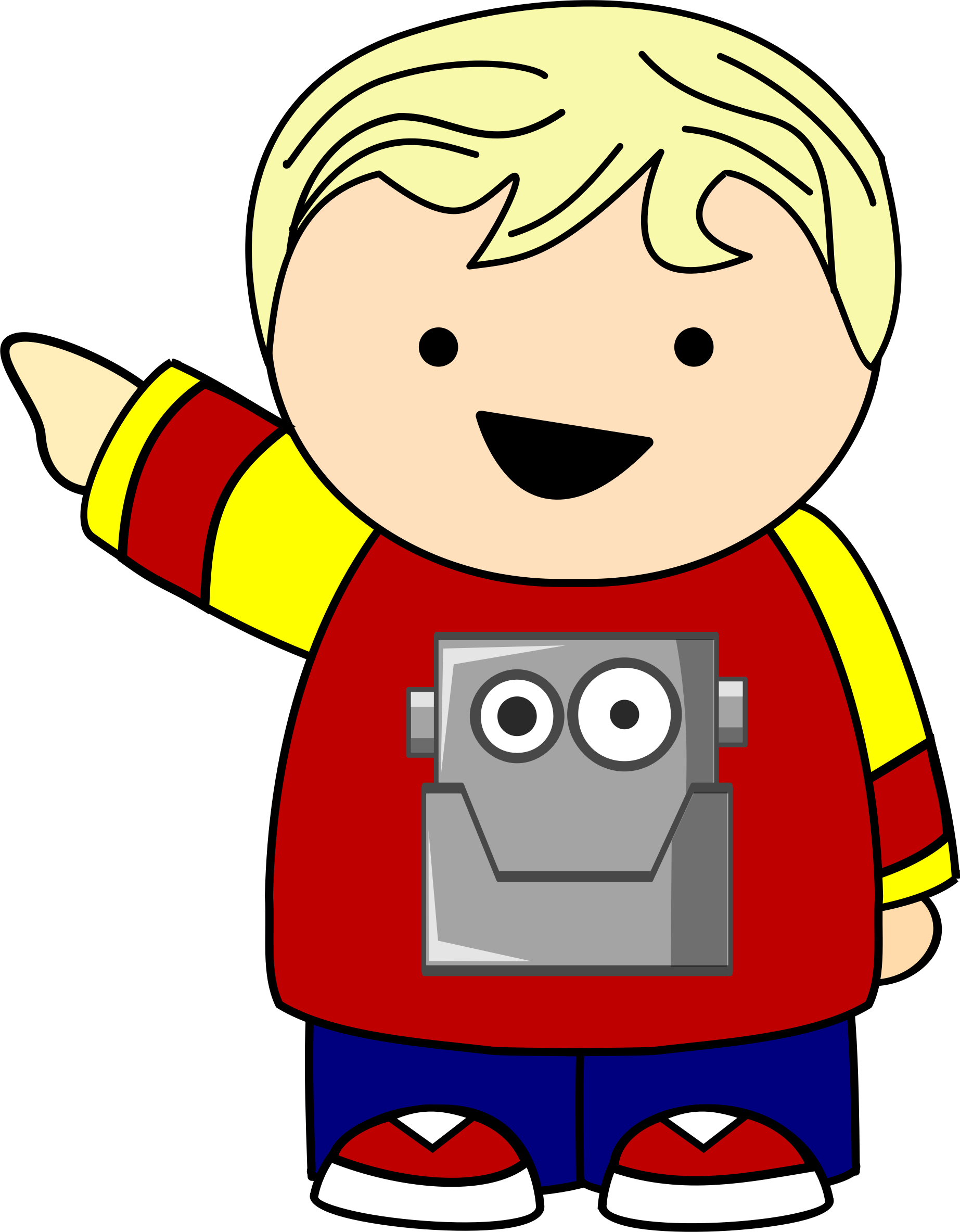 Pointing kid in robot. Clipart shirt child