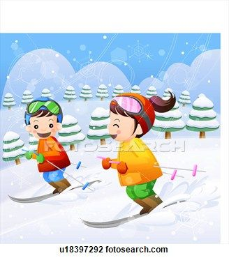 Clip art of children. Skiing clipart child
