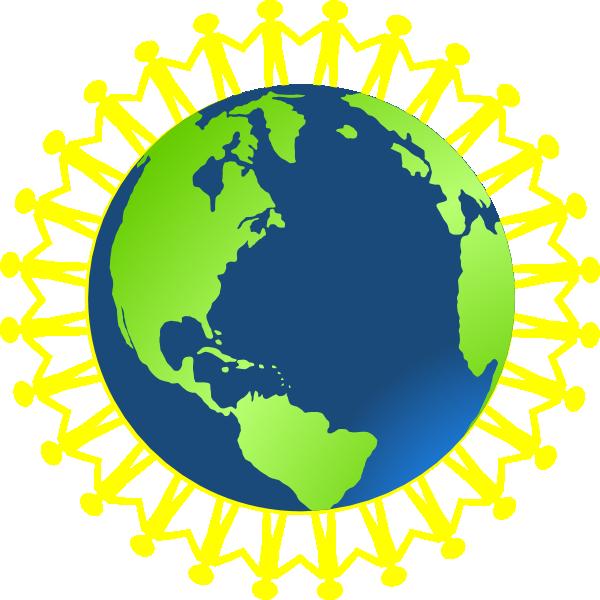 Children holding hands around. Clipart earth thinking