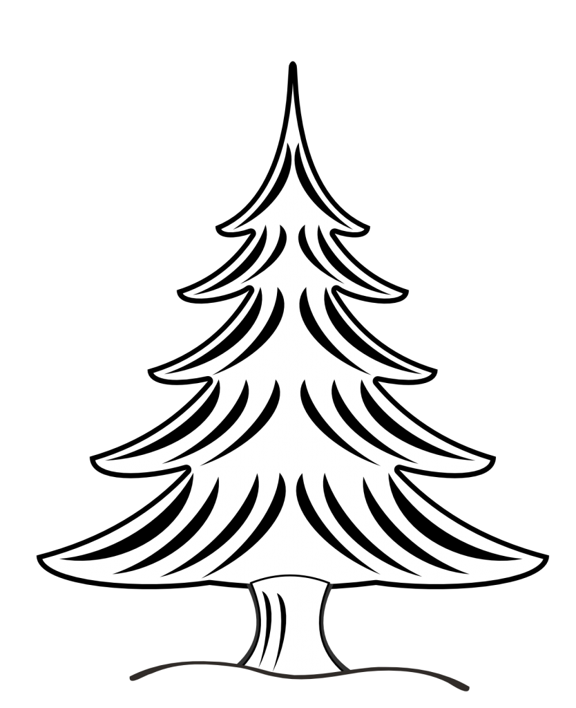 White clipart ornament. Christmas tree black and