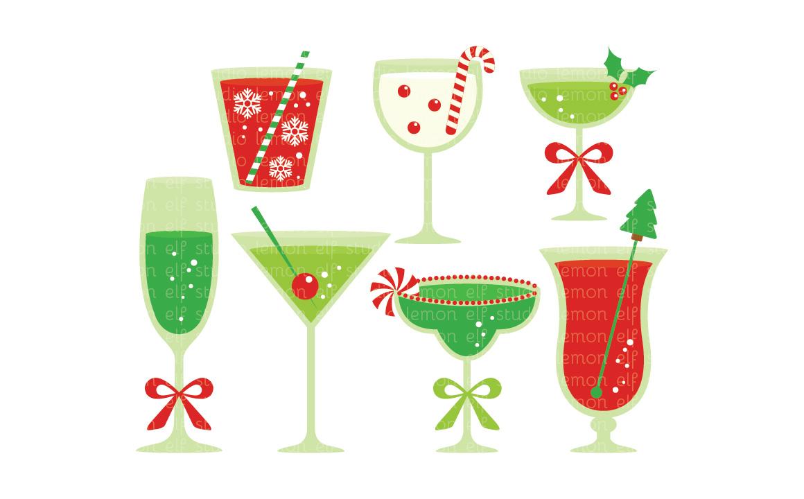 Cocktail clipart christmas. Cocktails digital les cl