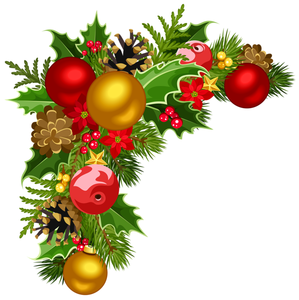 Deco with tree decorations. Christmas corner border png