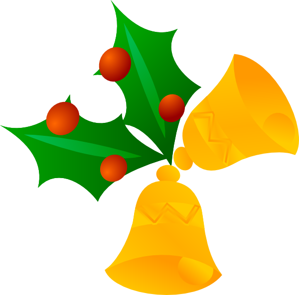 Bells rotated clip art. Floral clipart christmas