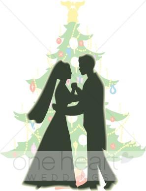 Wedding tree image . Couple clipart christmas