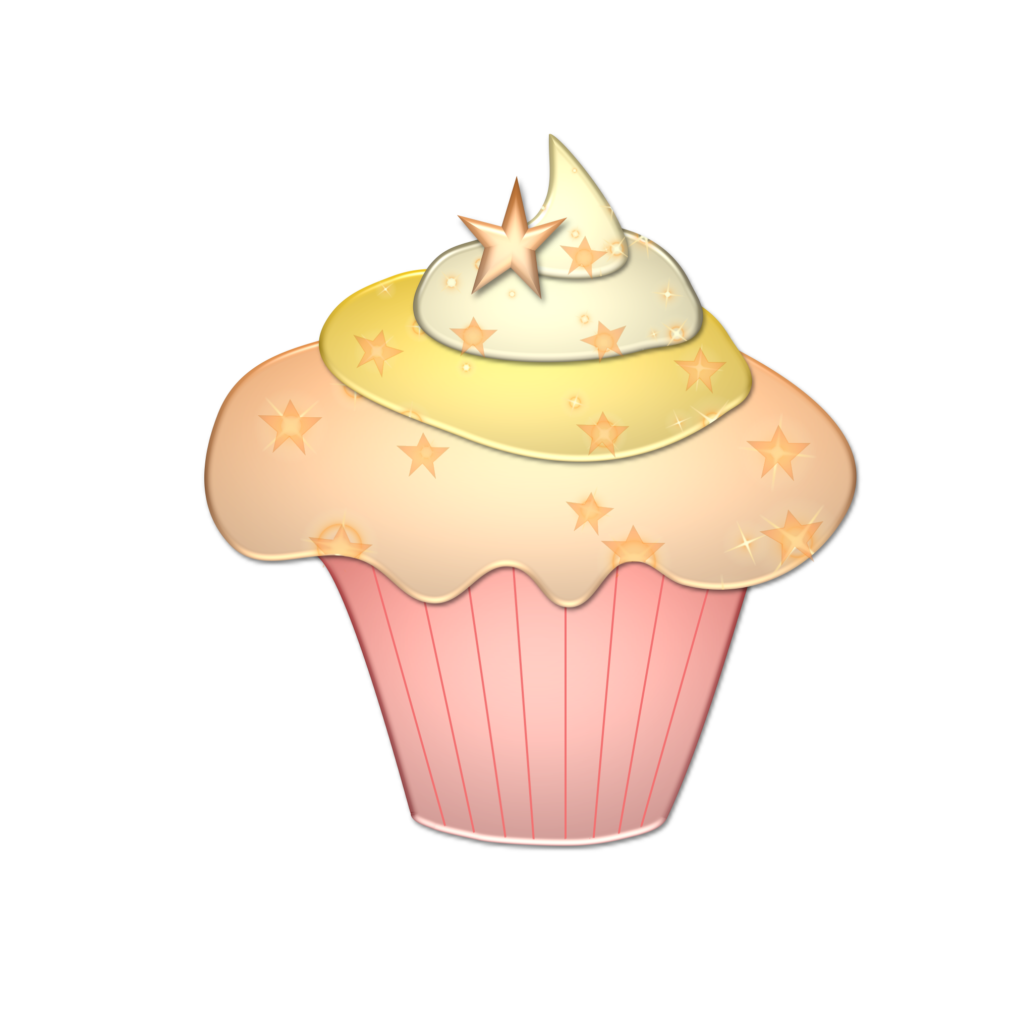 Freebie pink star image. Holiday clipart cupcake
