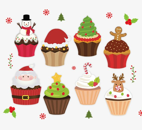 Stickers . Cupcakes clipart christmas