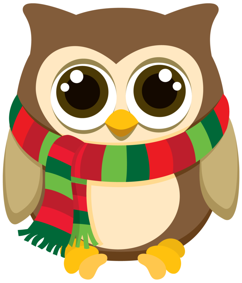 December clipart owl. Christmas minus say hello