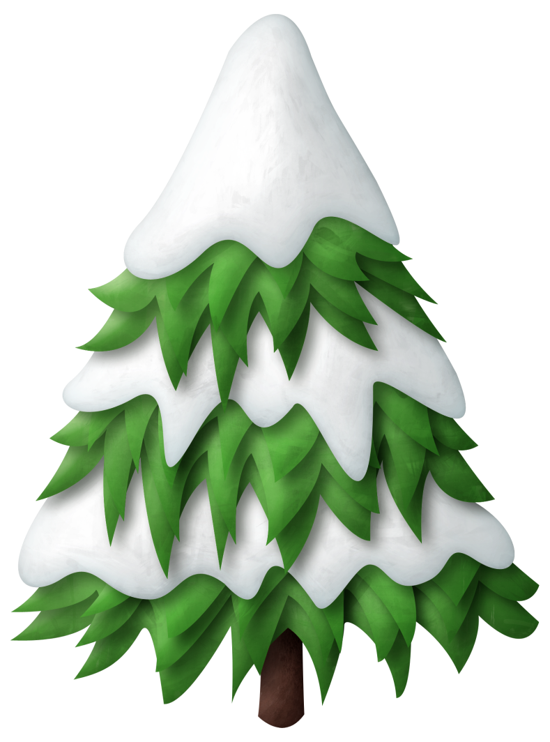 Green snowy christmas tree. Trail clipart nature scenery