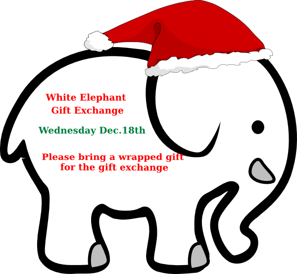 White with red bow. Clipart elephant christmas