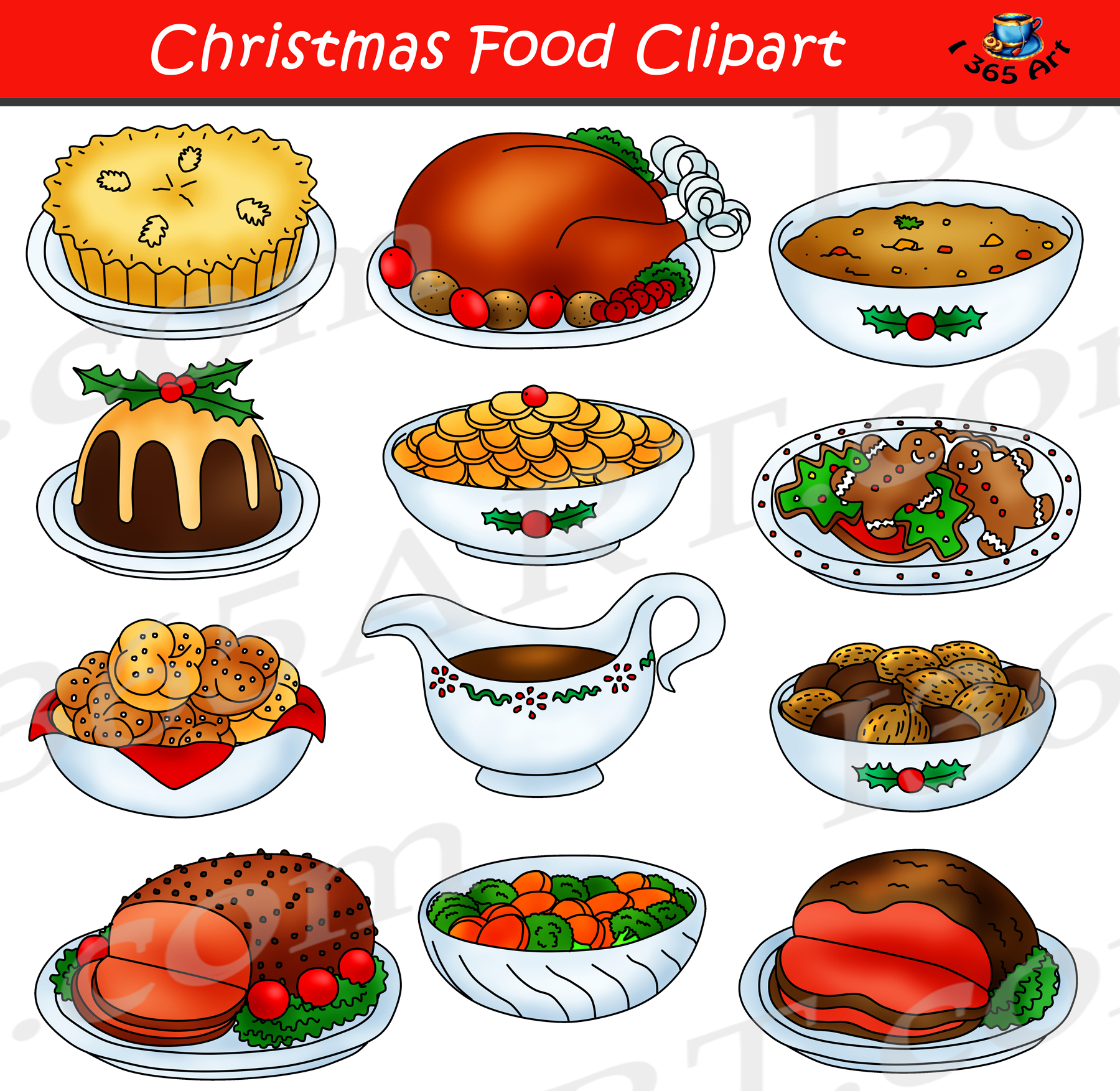 Christmas food graphic set. Meal clipart vegetarian meal