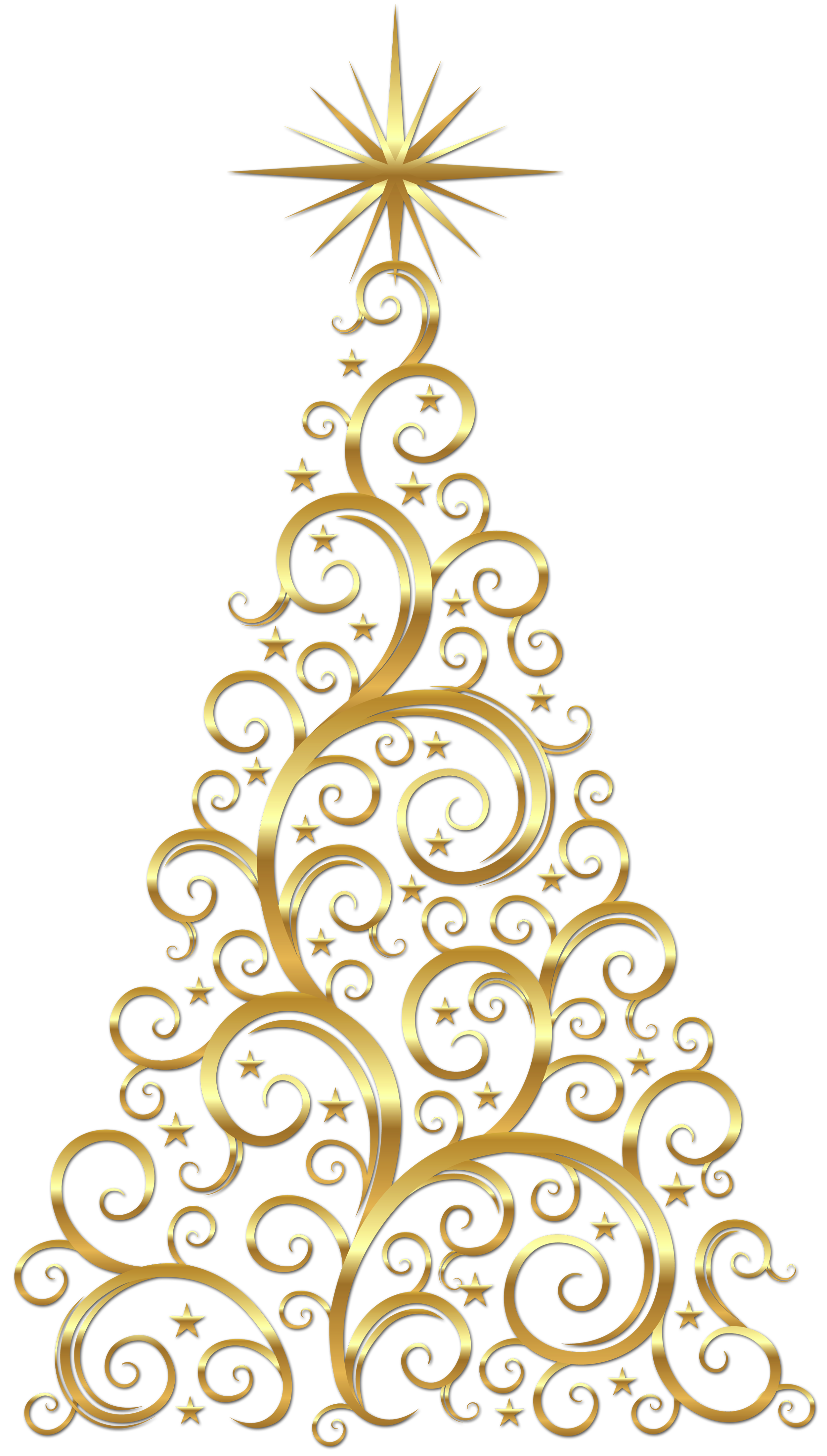 Clipart trees abstract. Gold christmas