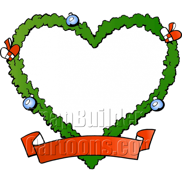 Fraim blank shaped wreath. Heart clipart christmas