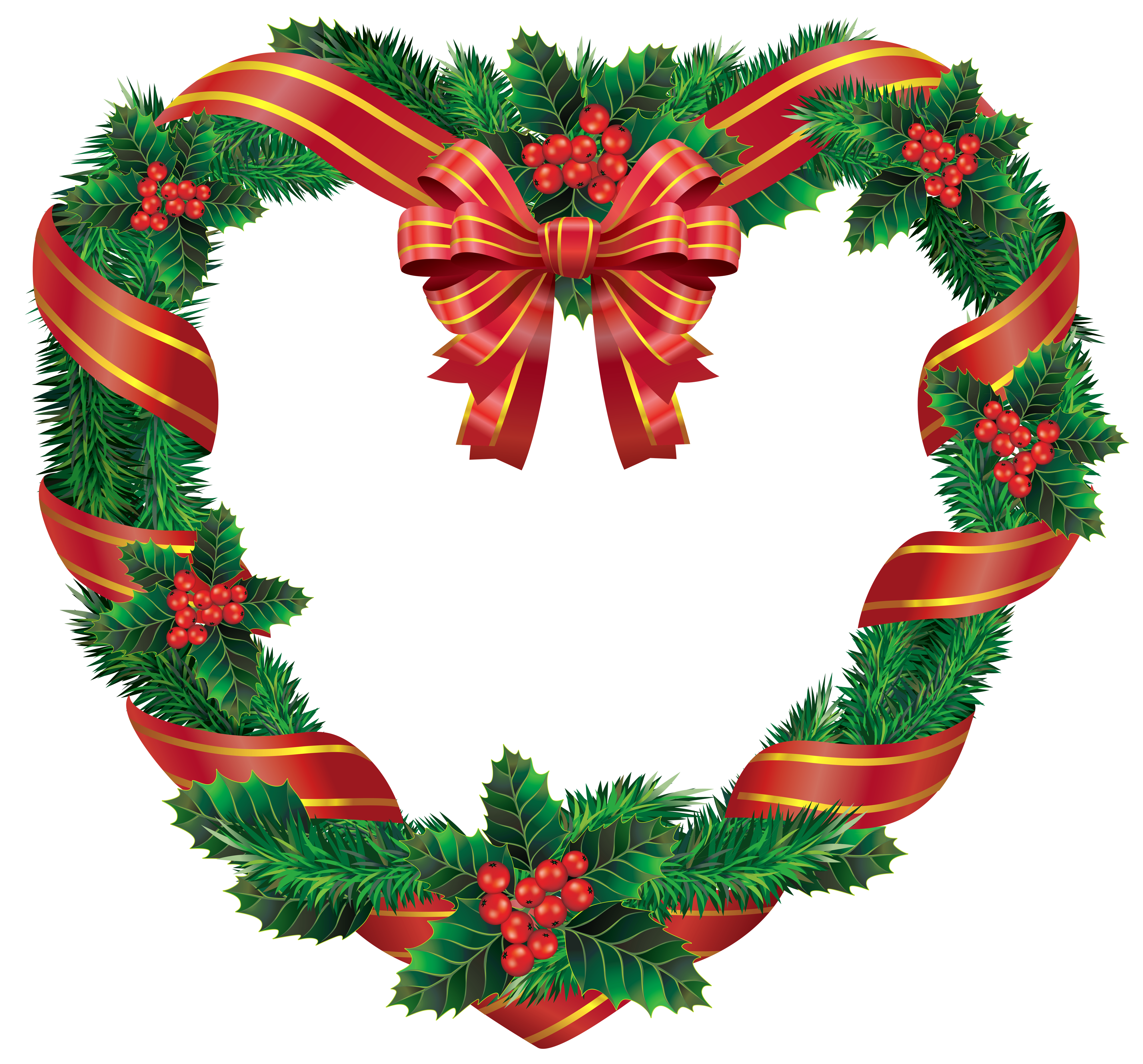 Transparent heart wreath png. Hearts clipart christmas