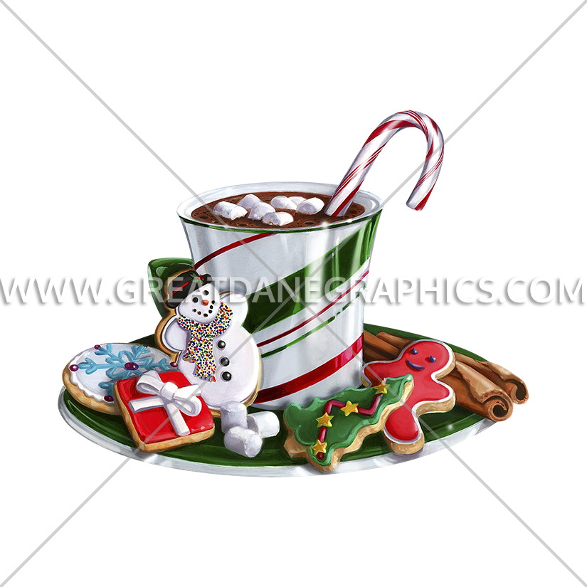 Clipart christmas hot chocolate. Production ready artwork for