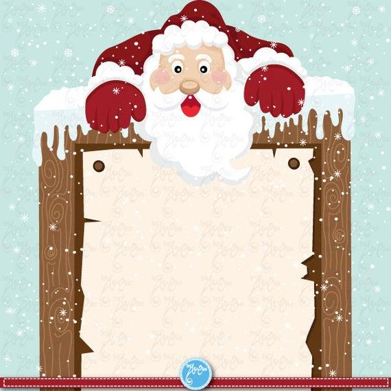 Santa clip art sign. Clipart christmas invitation