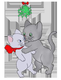 Clip art cats kissing. Clipart christmas kitten