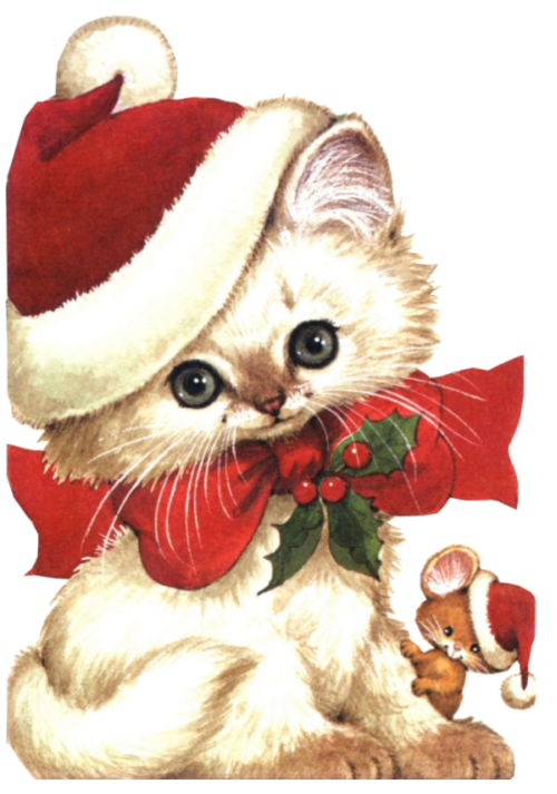 Clipart christmas kitten. And mouse clip art