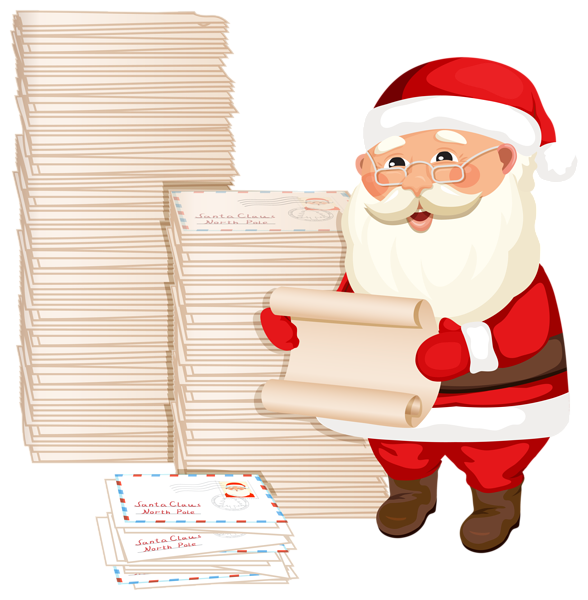 Santa claus with letters. Keys clipart letter