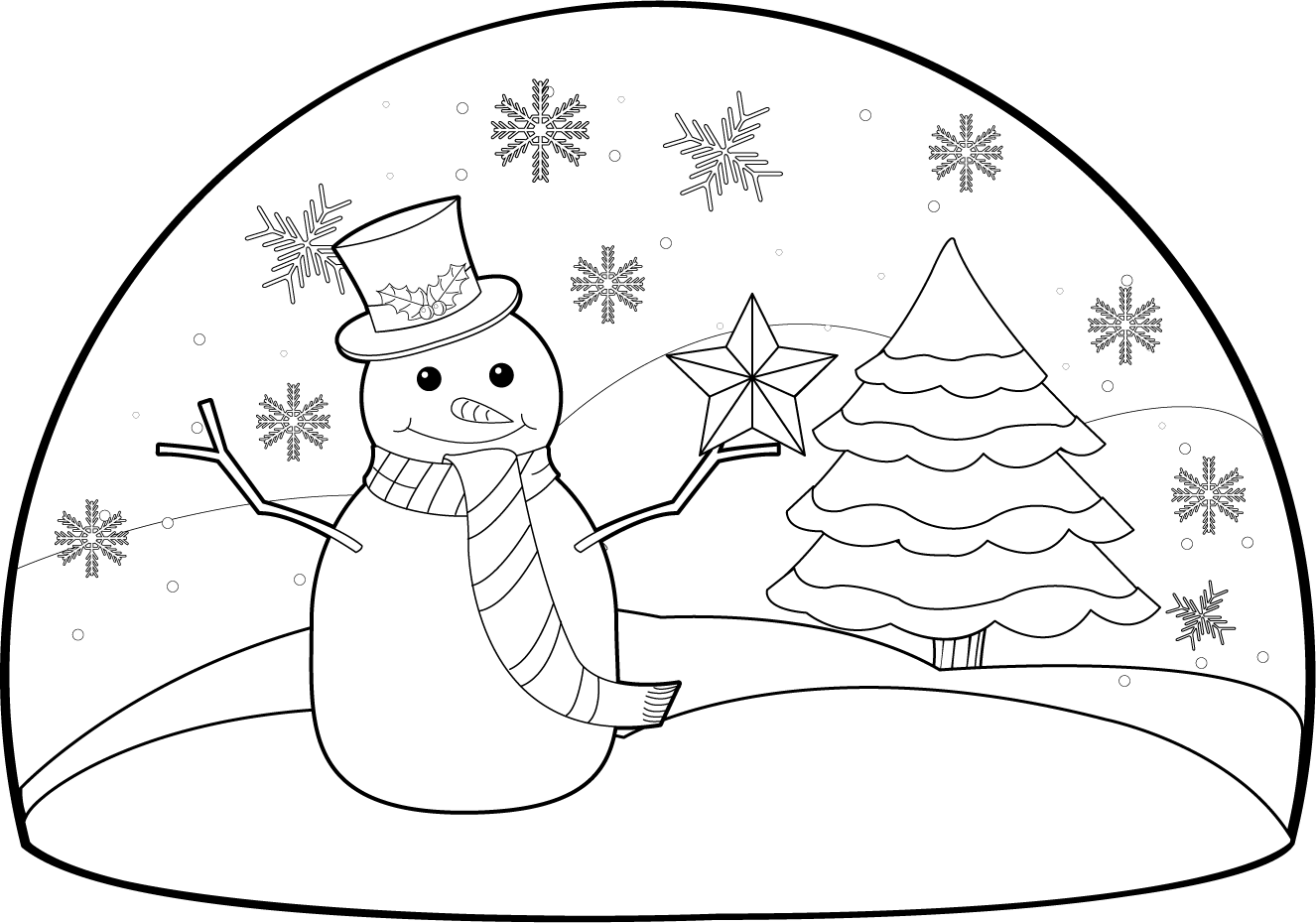 Christmas scene drawing at. Winter clipart black and white