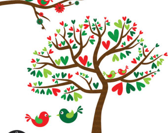 Birds red and panda. Clipart christmas love