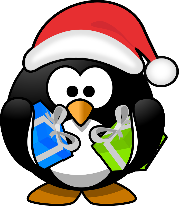 Heart clipart penguin. Christmas santa surprise birthday