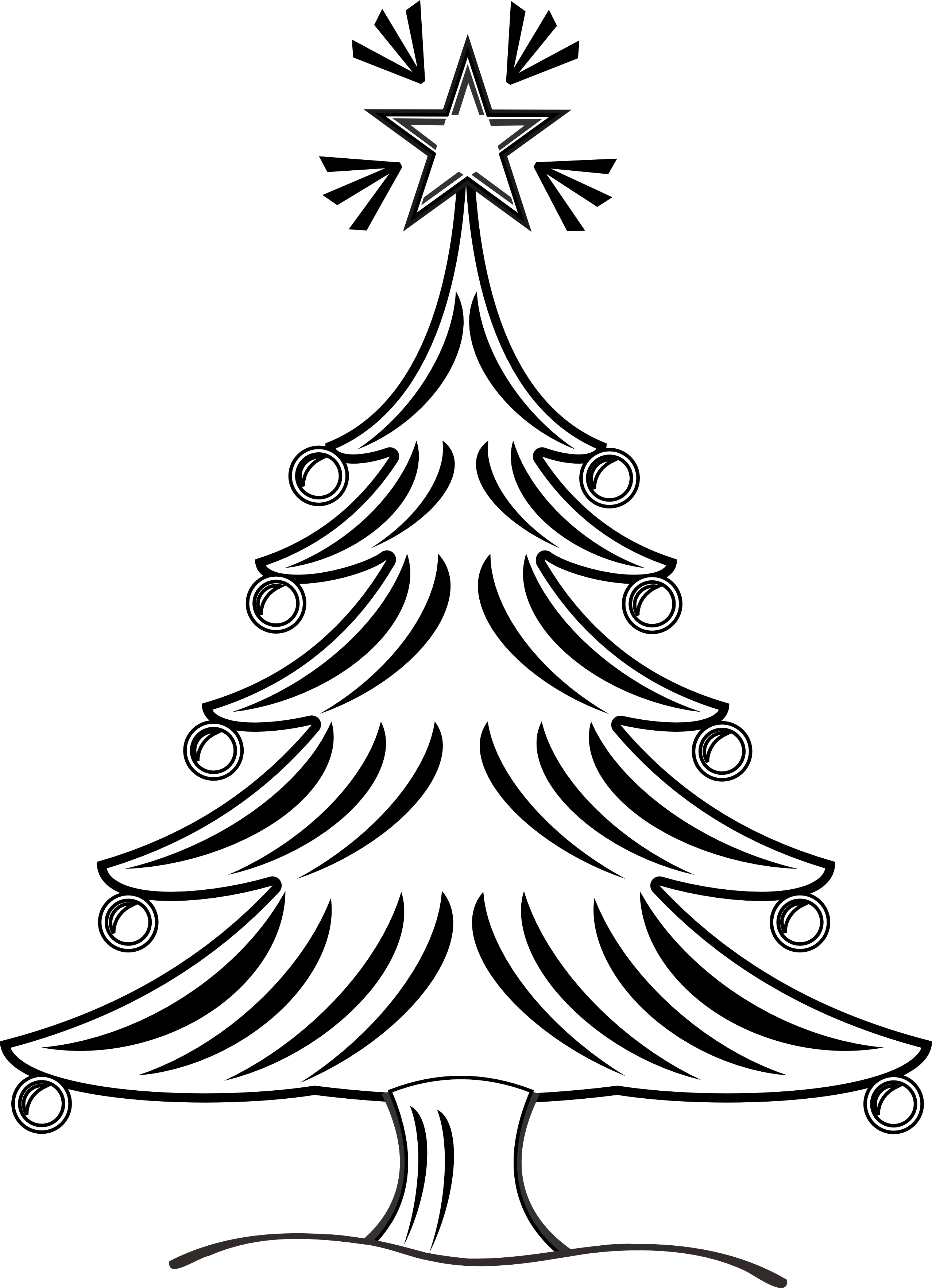 Drawing black and white. Clipart christmas plant