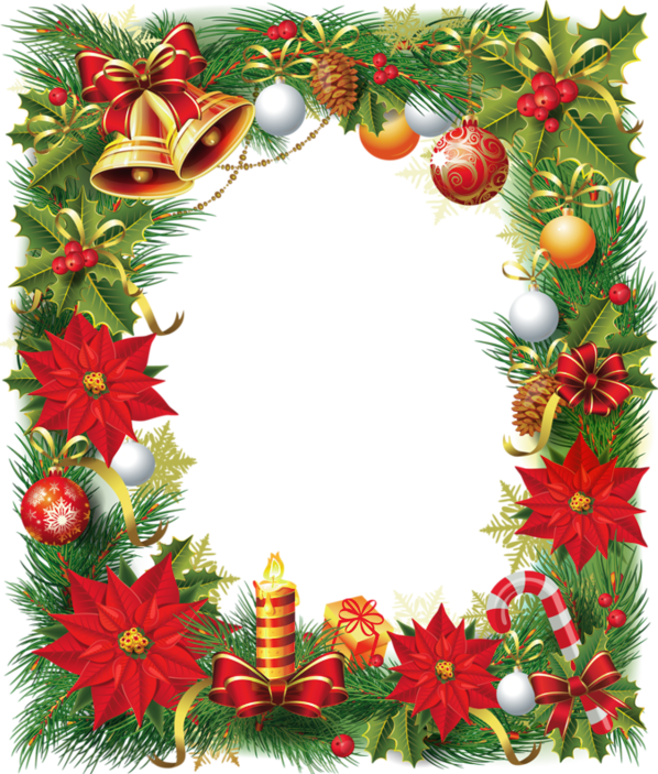 Christmas card frame png. Transparent photo with poinsettia
