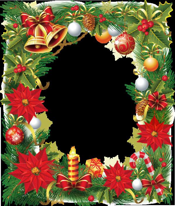 Transparent christmas photo frame. Poinsettias clipart ornament
