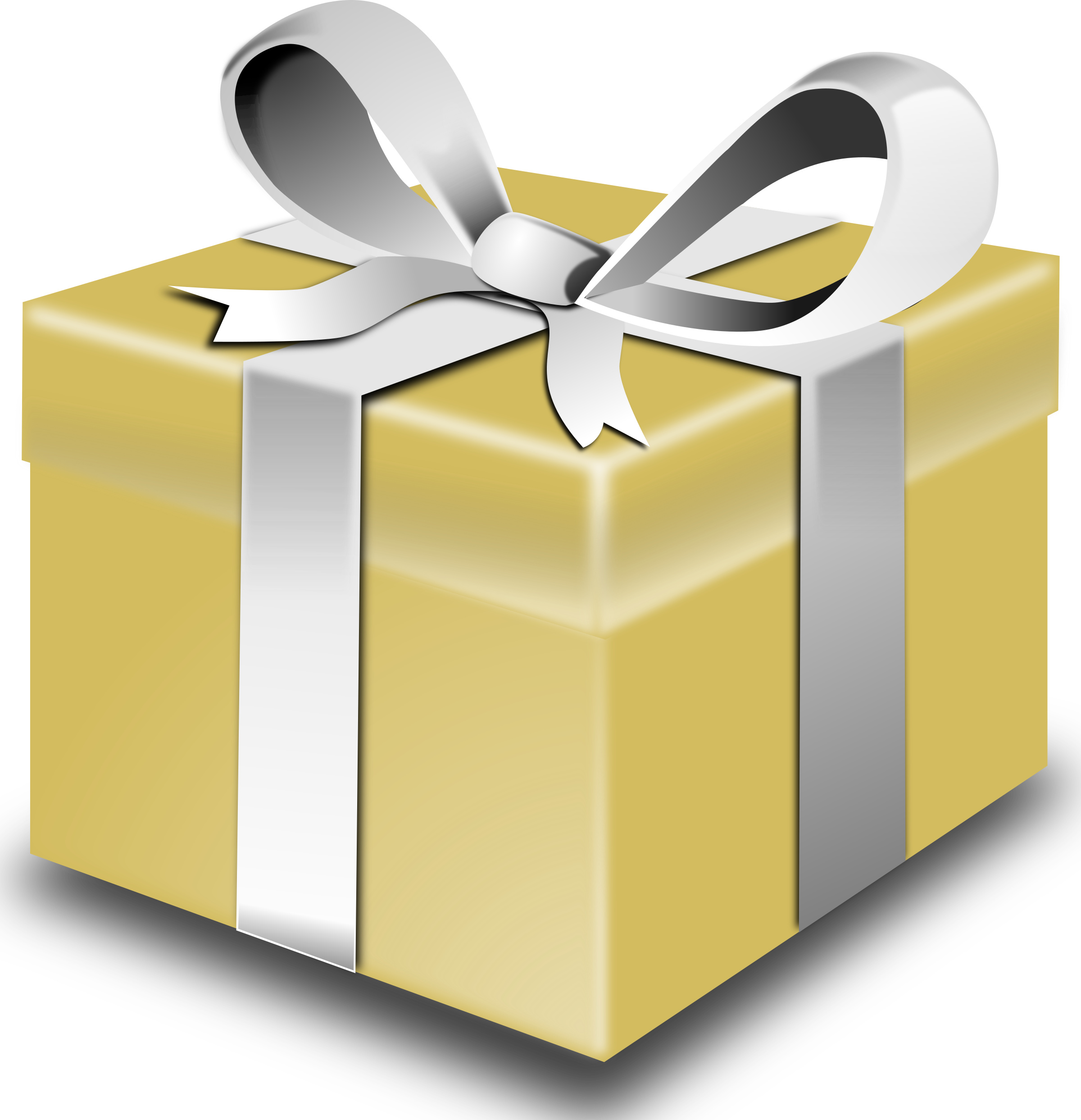 Gift clipart yellow. Gold present