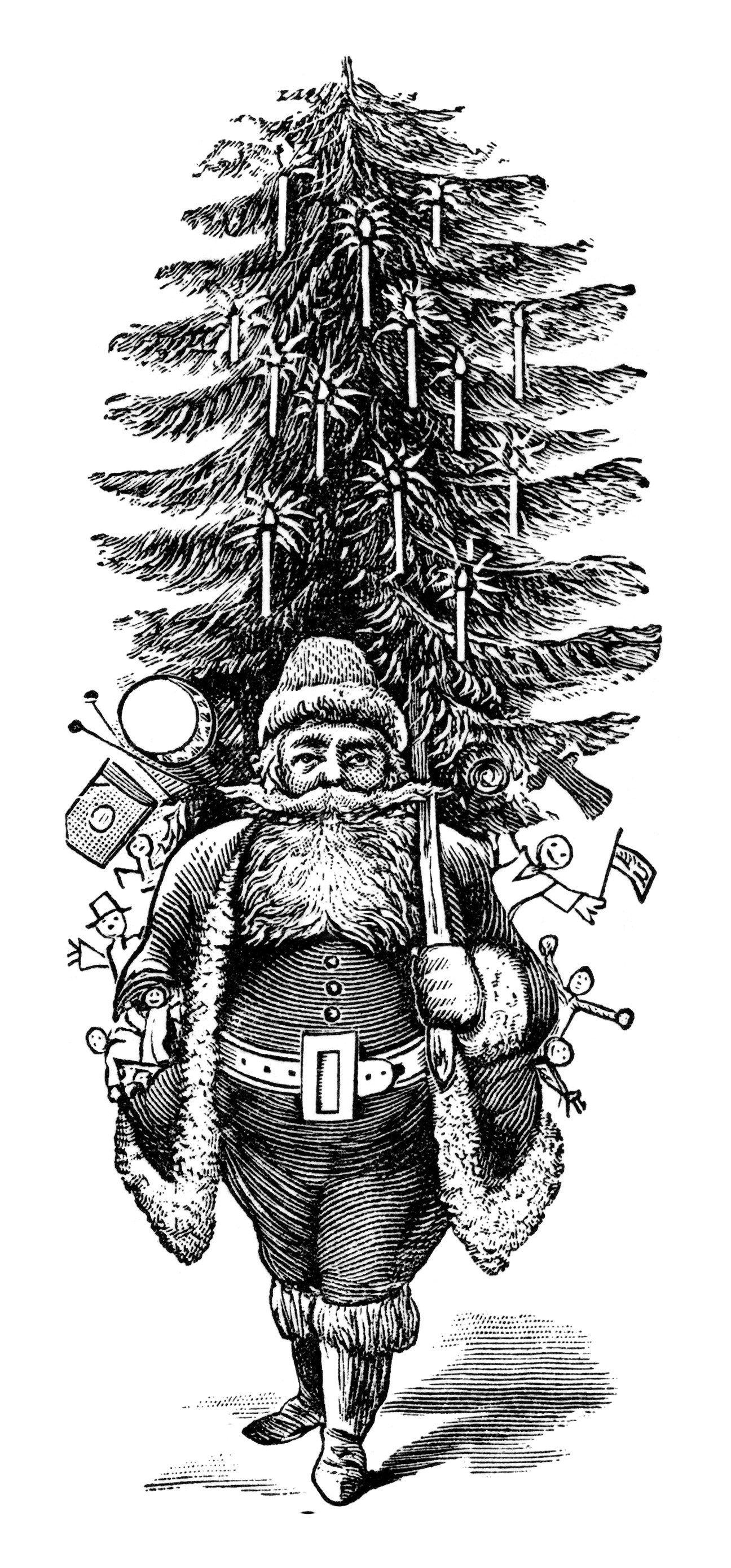Vintage santa free . Clipart christmas printable
