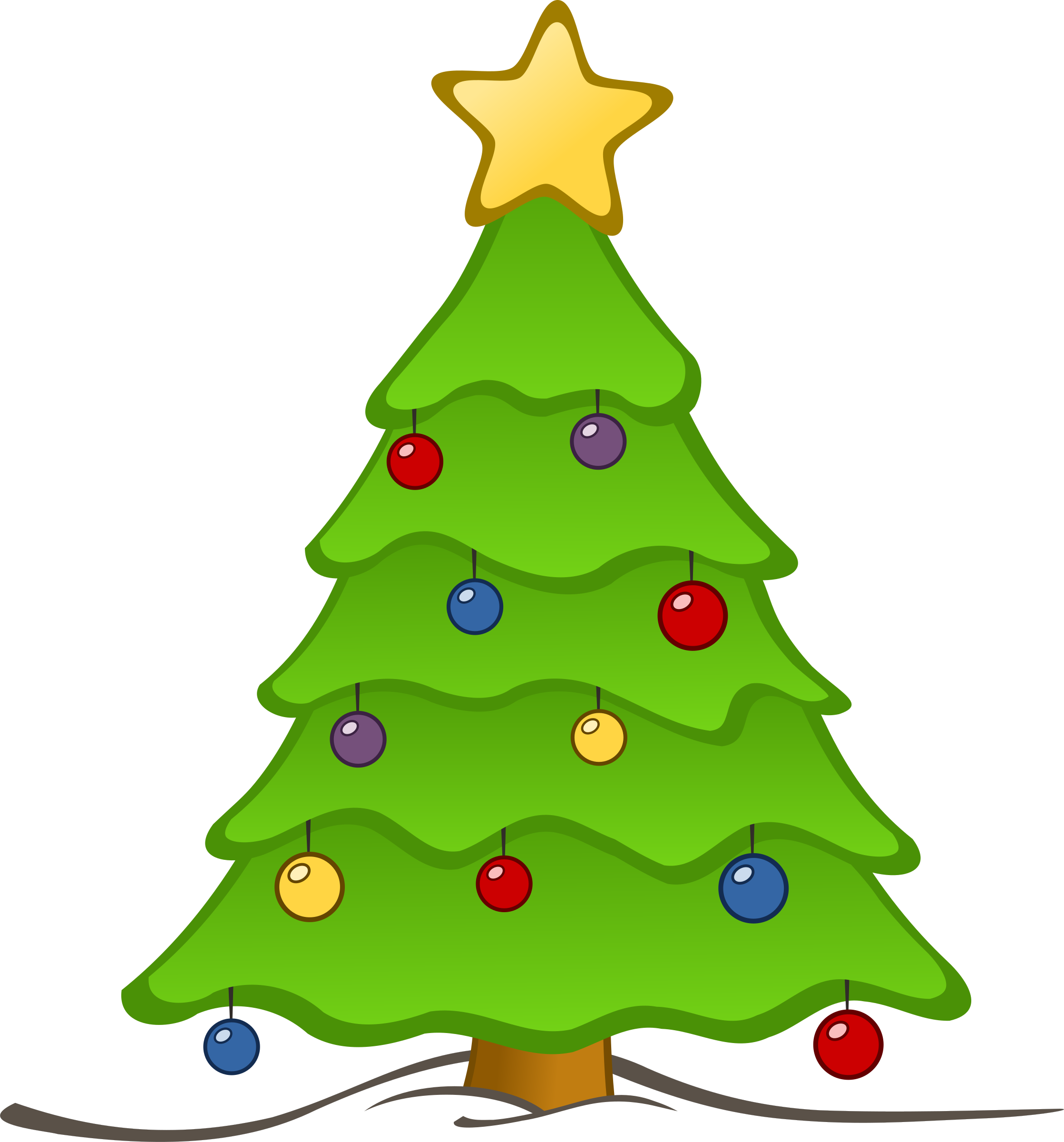 Christmas for drawing at. Clipart tree colour