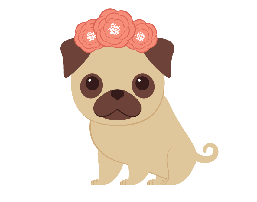 Creating the wreath and. Clipart christmas pug