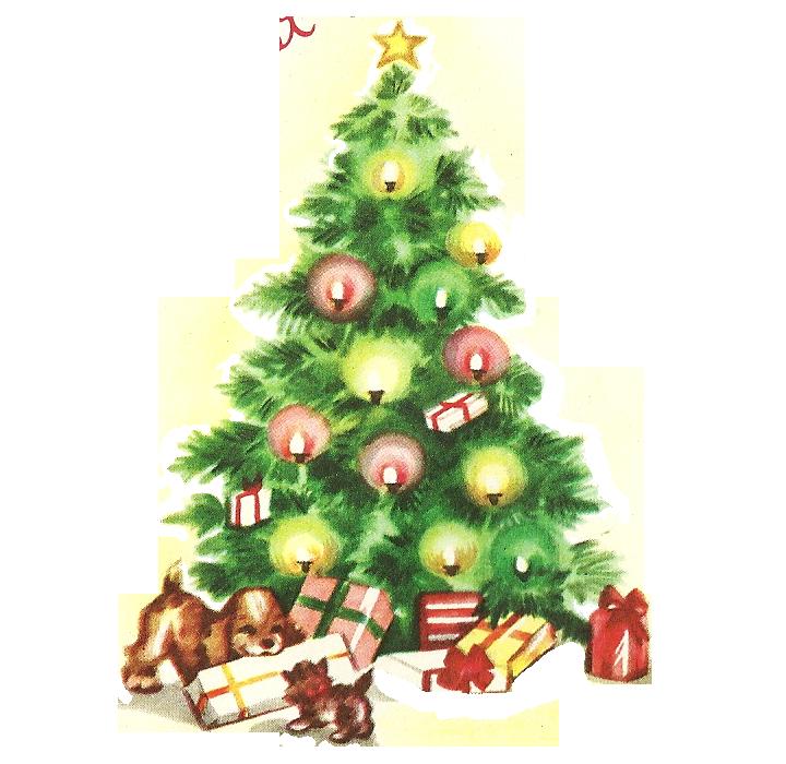 Vintage christmas clip art. Tree clipart retro