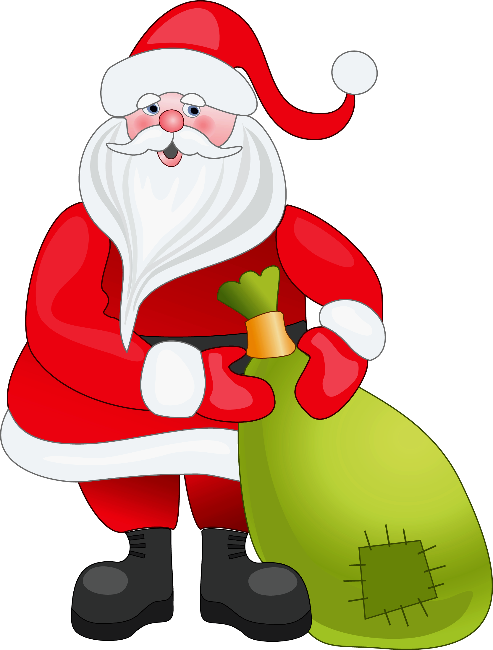 Claus with green bag. Hungry clipart santa