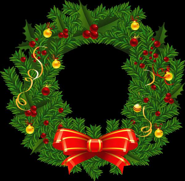 Large transparent christmas wreath. Fruit clipart garland