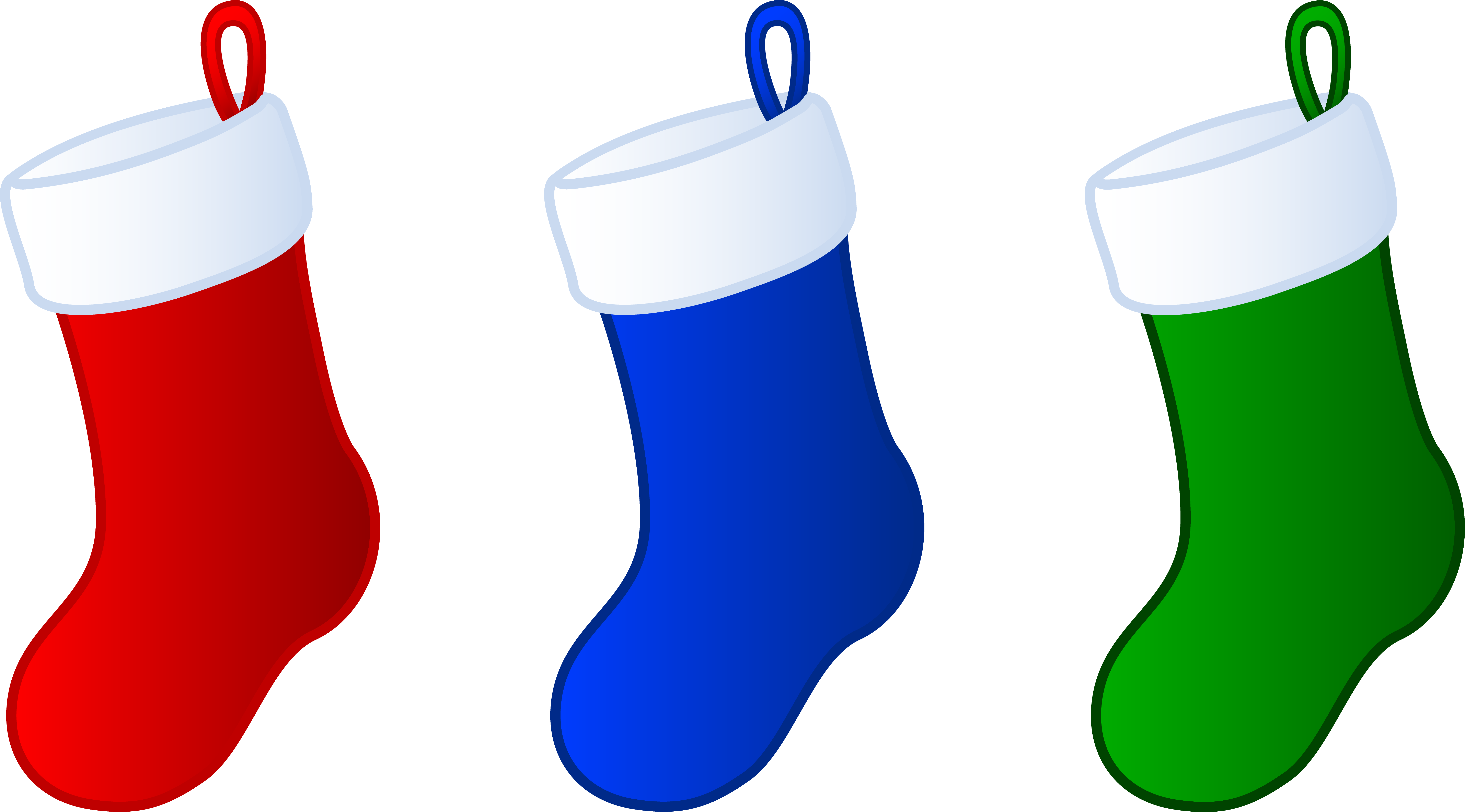 December clipart simple. Three christmas stockings free