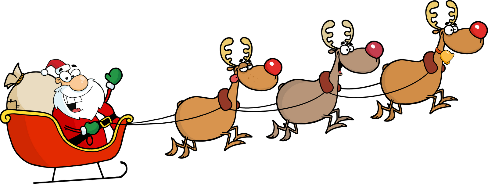 Santa and reindeer gif. Win clipart fenetre